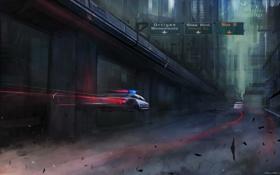 Картинка город, будущее, полиция, арт, патруль, преследование, cloudminedesign