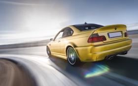 Обои бмв, скорость, поворот, BMW, gold, E46, золотая