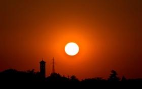Картинка небо, солнце, деревья, закат, башня, силуэт, опора