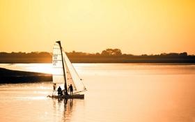 Обои закат, пейзаж, яхта, озеро