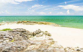 Картинка песок, море, волны, пляж, берег, summer, beach