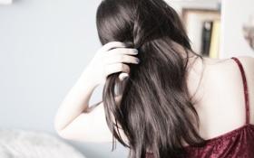 Картинка девушка, фон, обои, настроения, женщина, волосы, брюнетка