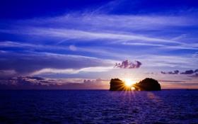 Обои закат, пейзаж, небо, солнце, вода, море