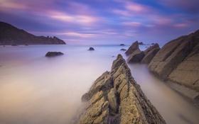 Картинка закат, камни, скалы, небо, облака, горы, море