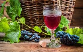 Обои листья, красное, вино, виноград, бокал