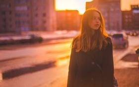 Картинка девушка, машины, город, здания, шатенка, боке