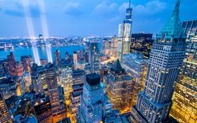 Обои свет, город, огни, здания, дома, Нью-Йорк, небоскребы