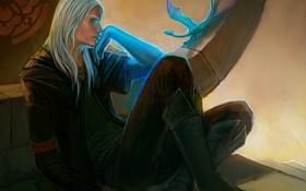 Картинка голубой, магия, дракон, арт, парень, белые волосы, сидя