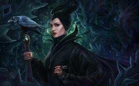 Обои Angelina Jolie, Disney, ворон, art, Maleficent, Малефисента