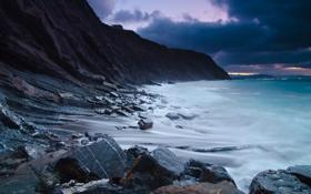 Картинка песок, море, волны, небо, вода, горы, природа
