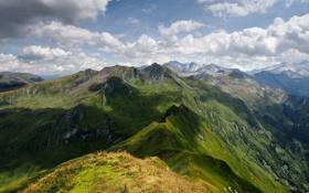 Обои зелень, облака, горы, тени, Austria, Alps