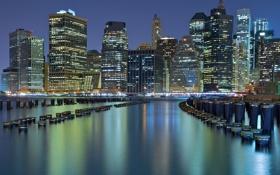 Обои здания, Нью-Йорк, залив, ночной город, небоскрёбы, New York City, сваи