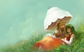 Картинка трава, девушки, отдых, зонт, холм, арт, touhou