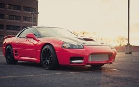 Обои Mitsubishi, парковка, red, блик, красная, мицубиси, 3000GT