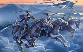 Обои облака, лошади, маски, горы, Всадники, мечи, флаг