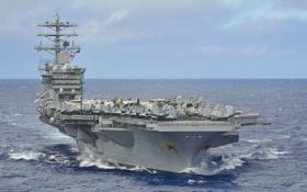Обои море, небо, авианосец, первый, типа «Нимиц», USS Nimitz, из серии