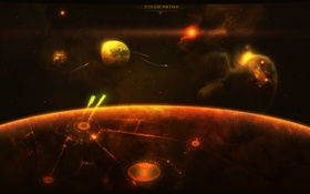 Обои поверхность, круги, планета, спутник, звездолеты