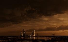 Обои разруха, постройка, здание, пустырь, облака