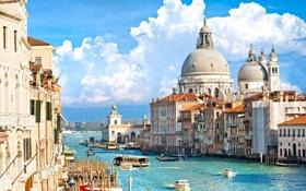 Обои корабль, дома, катер, Италия, Венеция, канал