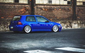 Обои stance, golf, blue, low, фольксваген, MK4, volkswagen