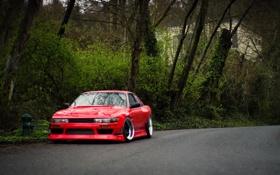 Обои red, Silvia, Nissan, ниссан, front, сильвия, S13