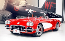 Обои красный, тюнинг, хвост, corvette, самолёт, шевроле, диски