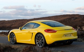 Обои car, yellow, желтый, Porsche, Cayman S