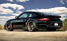 Обои 997, Porsche, порше, black, Turbo, задняя часть, турбо