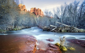 Обои rock, trees, water, Sunset in Sedona