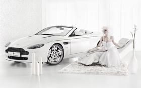 Обои Aston Martin, Blanc de Blancs, Vantaga, белый