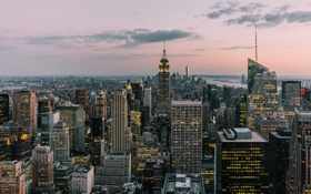 Обои небо, облака, закат, Нью-Йорк, Манхэттен, Эмпайр-стейт-билдинг, One World Trade Center