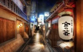 Обои lights, night, houses, style oriental