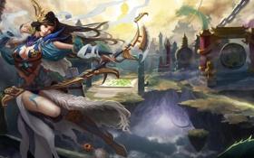 Обои девушка, обрыв, дракон, азия, лук, арт, ущелье