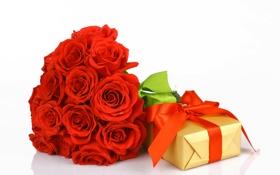 Обои подарок, розы, букет, лента, бутоны