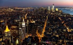 Картинка город, здания, дома, Нью-Йорк, небоскребы, вечер, освещение