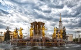 Обои небо, облака, дизайн, Москва, фонтан, ВДНХ, Россия