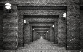 Обои ч/б, фонари, арки, by Robin de Blanche, Bricks