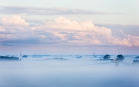 Обои Небо, Облака, Туман, Деревья, Горизонт, Вышки
