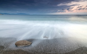 Картинка море, пейзаж, ночь, камни