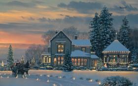 Обои зима, дорога, снег, украшения, огни, дом, самолет