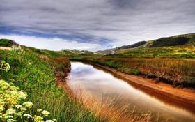 Обои Трава, Поляна, HD Wallpapers, Холмы, Луга, Облака, Природа