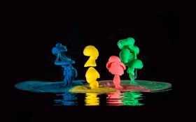 Обои вода, краски, цвет