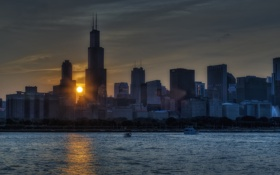 Картинка солнце, город, небоскребы, утро, Чикаго, Иллиноис