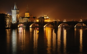 Обои Влтава, Карлов мост, ночная Прага