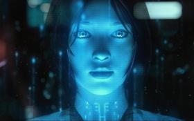 Обои взгляд, девушка, лицо, игра, Halo, голограмма, Cortana