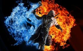 Картинка вода, оружие, фон, огонь, птица, игра, Assassins Creed