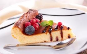 Картинка ягоды, шоколад, черника, тарелка, пирог, ложка, торт