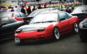 Обои nissan, red, drift, 240sx