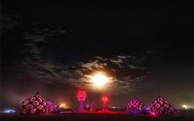 Картинка облака, ночь, огни, люди, луна, арт, США