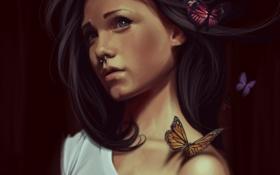 Обои арт, пирсинг, бабочки, девушка